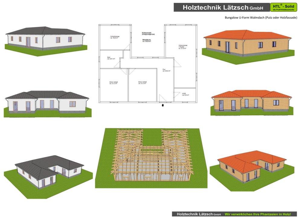 U form holztechnik l tzsch bungalows und wohnh user for Bungalow u form